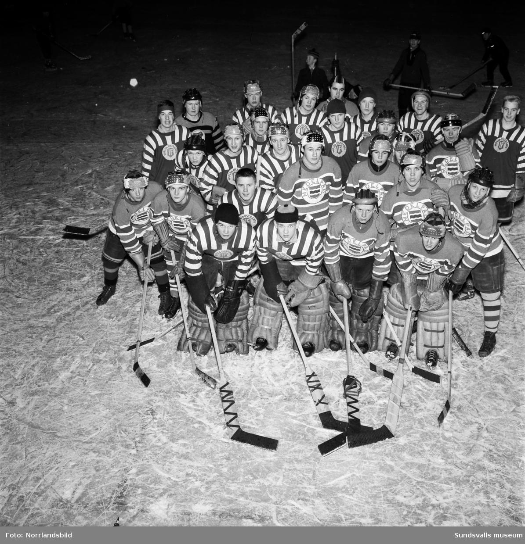 Medelpads juniorhockeygrabbar tränar på Stenkrossplan. Gruppfoto.