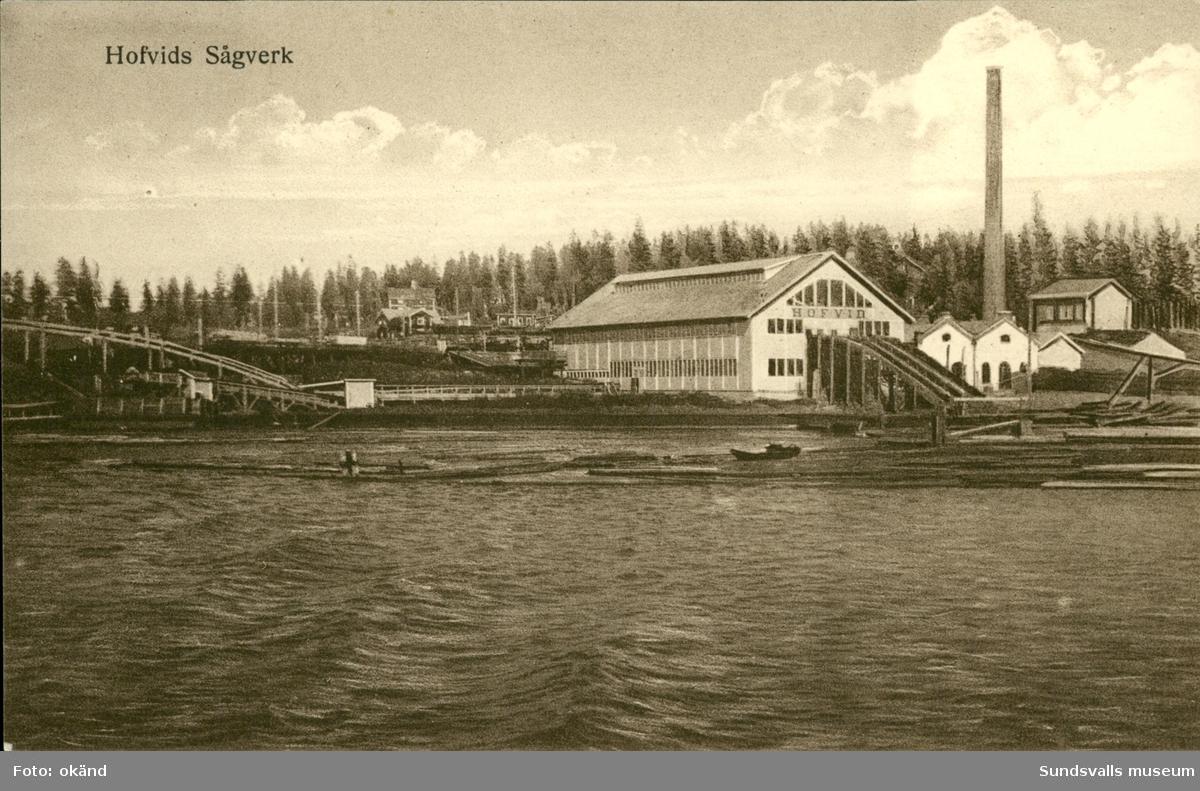 Vykort med motiv över Hovids sågverk på Alnö.