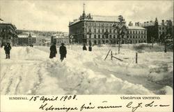 Vykort med vintermotiv över Esplanaden och Vängåvan  i Sunds