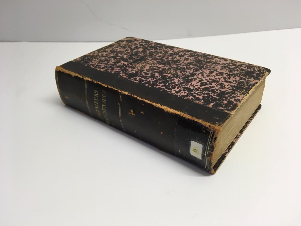 """Liten tjock bok på 971 sidor med ryggtitel: """"Ingenieurs Taschenbuch"""" med titelsida: """"Des Ingenieurs Taschenbuch. Herausgegeben von dem Verein 'Hütte'"""".  Utgiven på Verlag von Ernst & Korn i Berlin 1877."""
