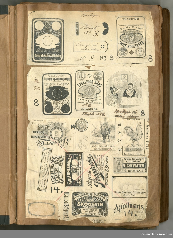KLM 21360:2 Etiketter, av papper, inklistrade i provbok, inbunden. Provtryck i svart/vitt på litografiska etiketter mm. Utförda på Janssons Litografiska tryckeri i Kalmar. Exempel på tryck är företrädesvis affärstryck och särskilt tändsticksetiketter som trycktes på tryckeriet i stor mängd, andra exempel är tobaksetiketter, buteljetiketter såsom, lemonad, svagdricka, pilsner. Många av trycken hör ihop med företag i närområdet men också från Sverige i övrigt. Datering, 1877-1922.