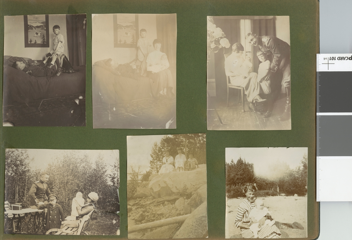 Familjebild i trädgården.