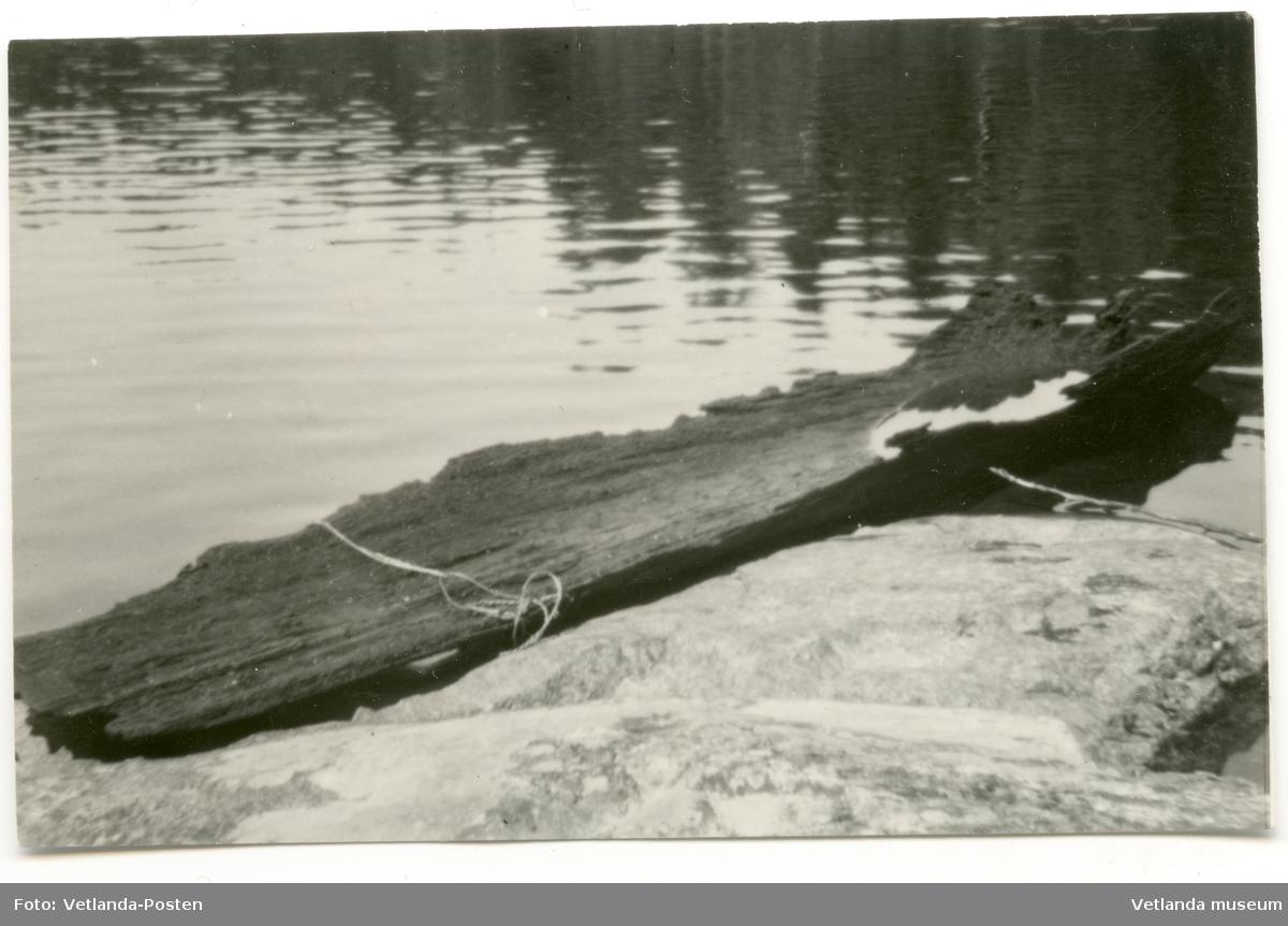 """Stockbåt funnen i göl. """"2/9 -55 Gammal ekstock från Björnasjö i Bäckseda."""" Vidare efterforskningar har visat att fyndplatsen är Björnasjö, Mjölseryd RN 6357-1462. Stockbåten hittades av fabrikör Samuel Svensson. den var i dåligt skick, endast botten och delar av sidorna fanns kvar. Denna bild togs av båten och sedan lades den tillbaka i sjön."""