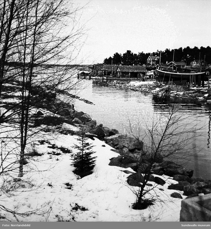 Spikarnas fiskeläge på Alnö. Vinterbilder eller tidig vår.