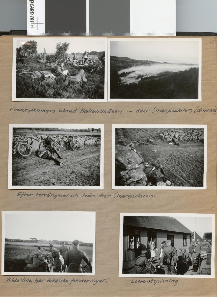 """Text i fotoalbum: """"Adjutantkursen juni 1940. Tyringe-Torekov m. fl. platser. Framryckningen utmed Hallandsåsen""""."""
