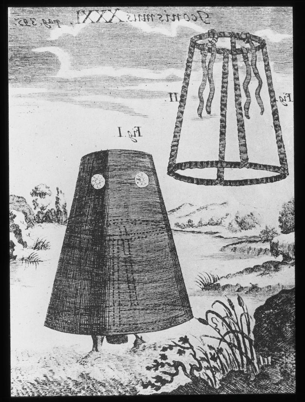Avfotografert trykk som viser tegning av en person i dykkerklokke.