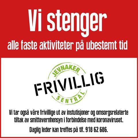 Plakat fra Jevnaker Frivillighetssentral, 12.3.2020