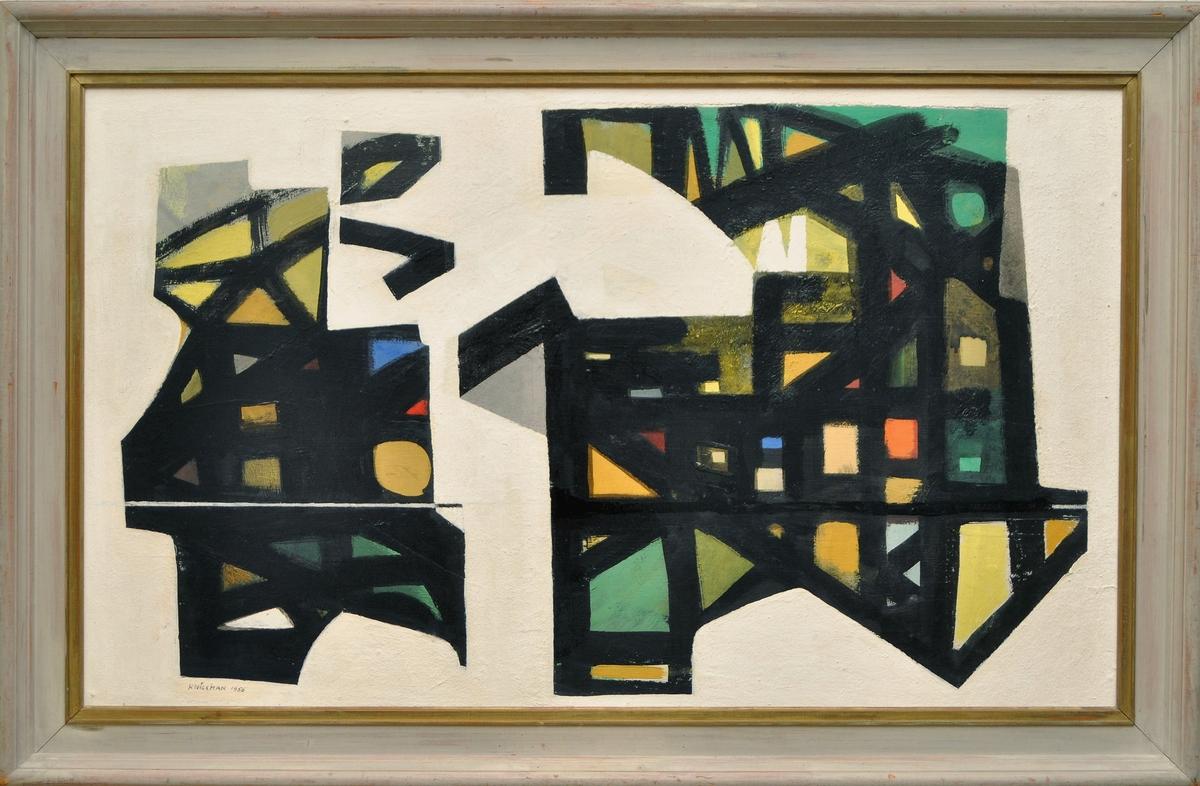 Oljemålning på pannå, Intermezzo, av Hugo Wickman 1956.