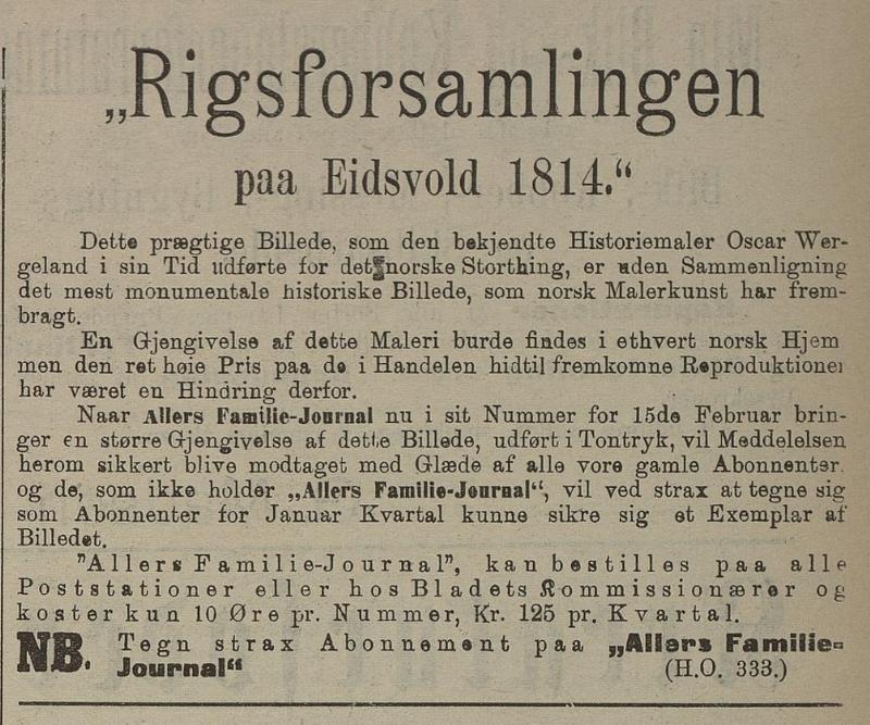 Faksimile. Annonse for Allers Familiejournal i Flekkefjordsposten 13. februar 1903 (Foto/Photo)