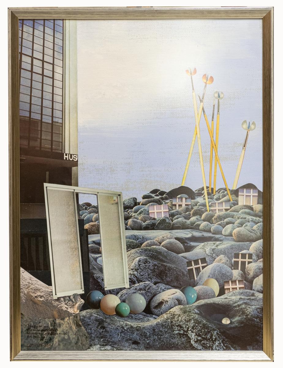 Kollage av Gudrun Åhlberg, 1988. Originalram av trä, stålgrå.