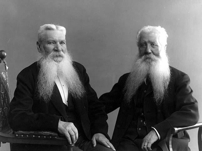 Två vithåriga äldre män med långa, vita och delade skägg.