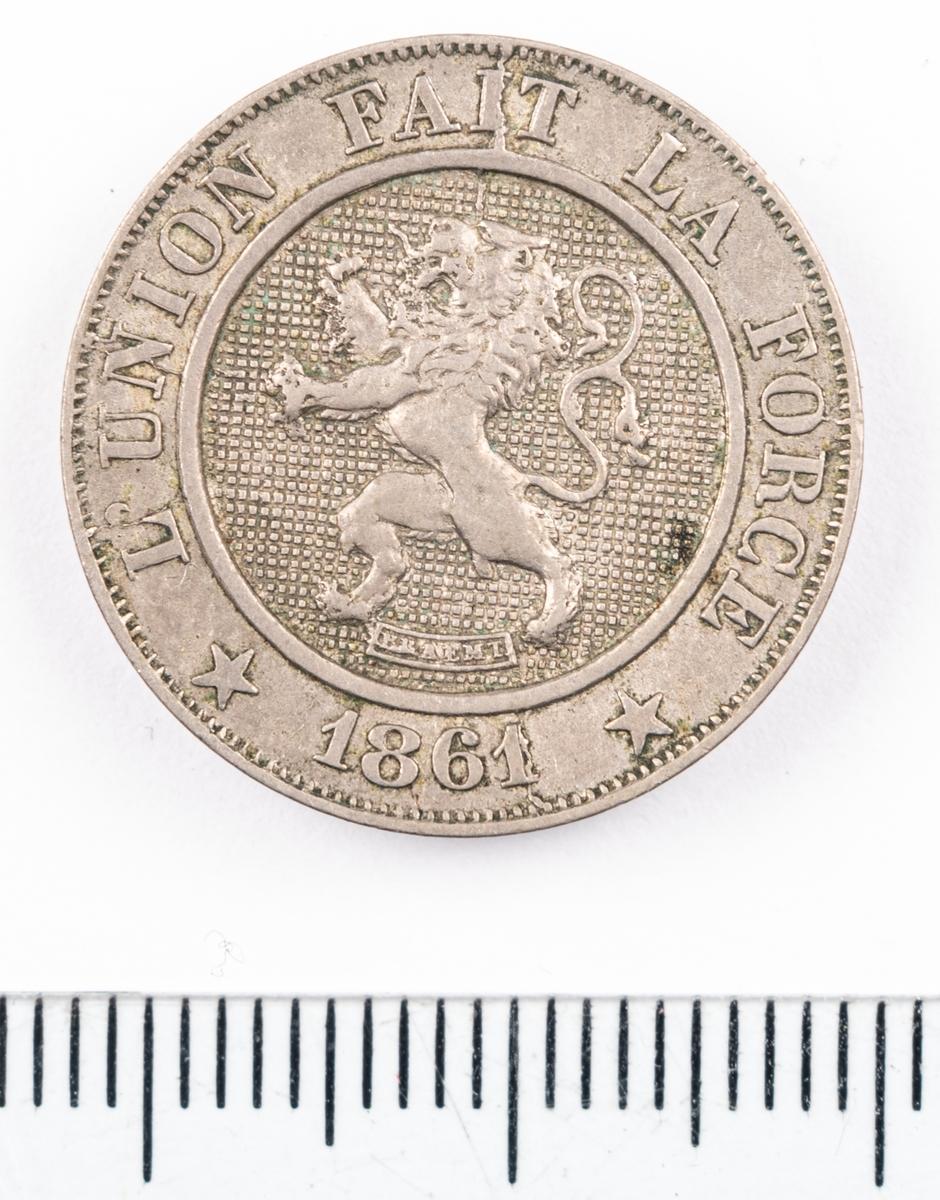 Mynt, Belgien, 1861, 10 Centimes.