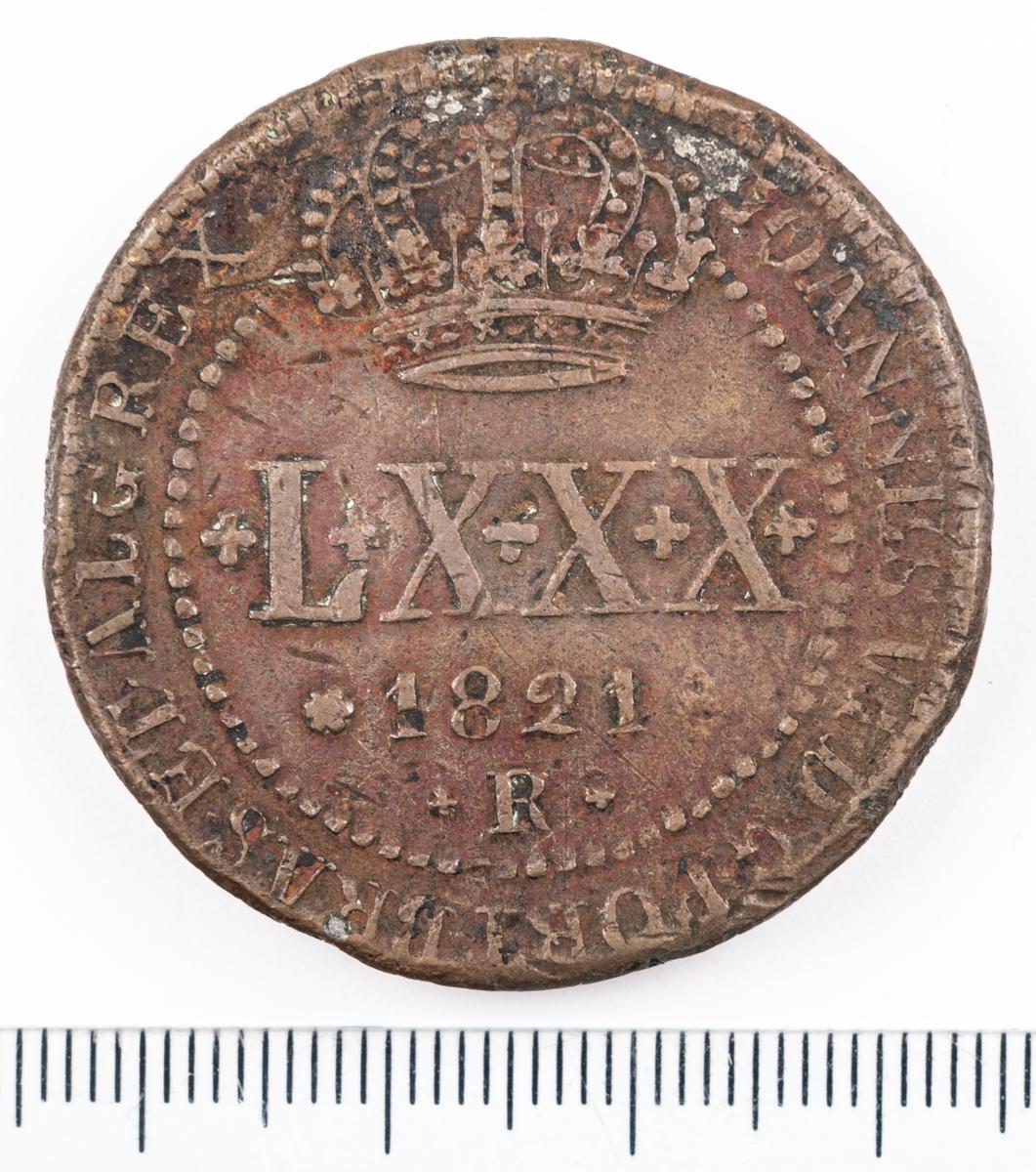 Mynt, Brasilien, 1821, LXXX Reis.