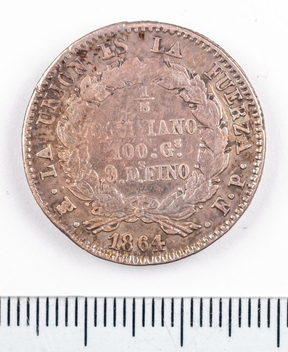 Mynt, Bolivia, 1864, 1/5 Boliviano.