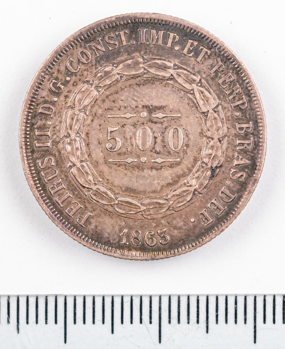 Mynt, Brasilien, 1863, 500 Reis