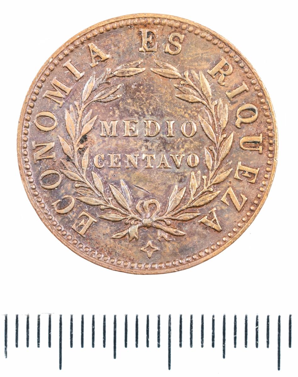 Mynt, Chile, 1853,  ½C.