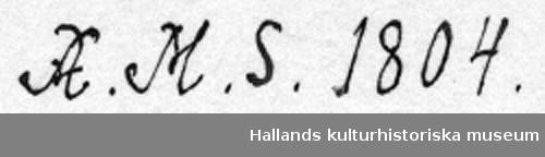 """Selbåge av trä, målad i blågrön oljefärg med brun kant. Text: """"A. M. S. 1804"""", """"AM97"""". Del av seldon."""