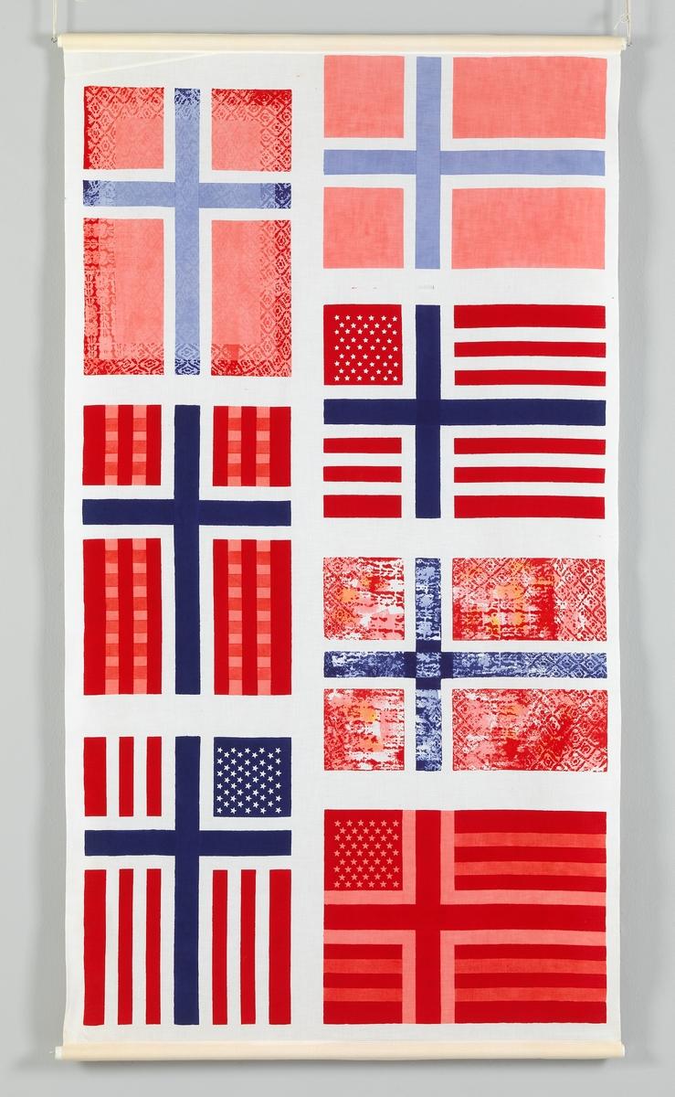 Variasjon over det norske flagg [Dekorativ tekstil]