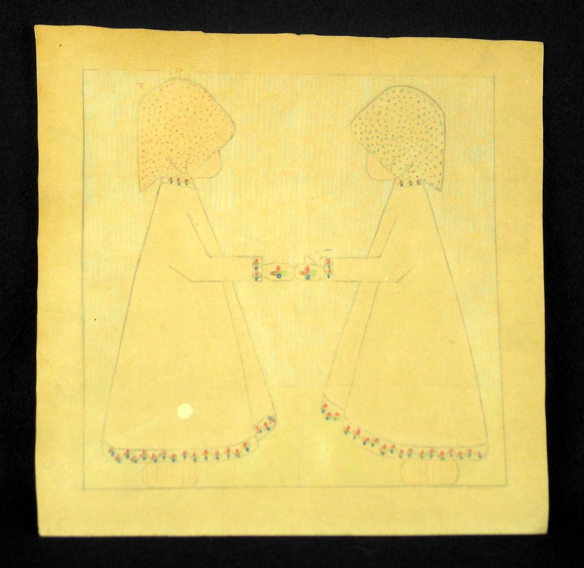 Blyanttegning av to nesten identiske, motstilte jenter. Fargelagte mønsterborder på kjoler og votter. Prikkete tørkle. Merke etter hjelpelinjer.