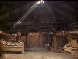 Røykstue fra Vikøy, Kvam i Hardanger [Maleri]