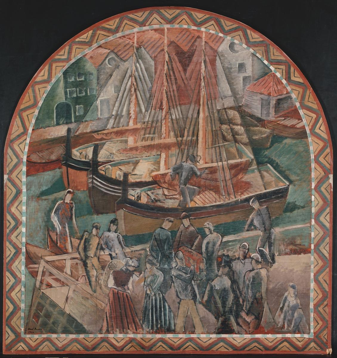 Nordlandsstevne. Utkast til freskodekorasjon i Bergen Børs [Maleri]