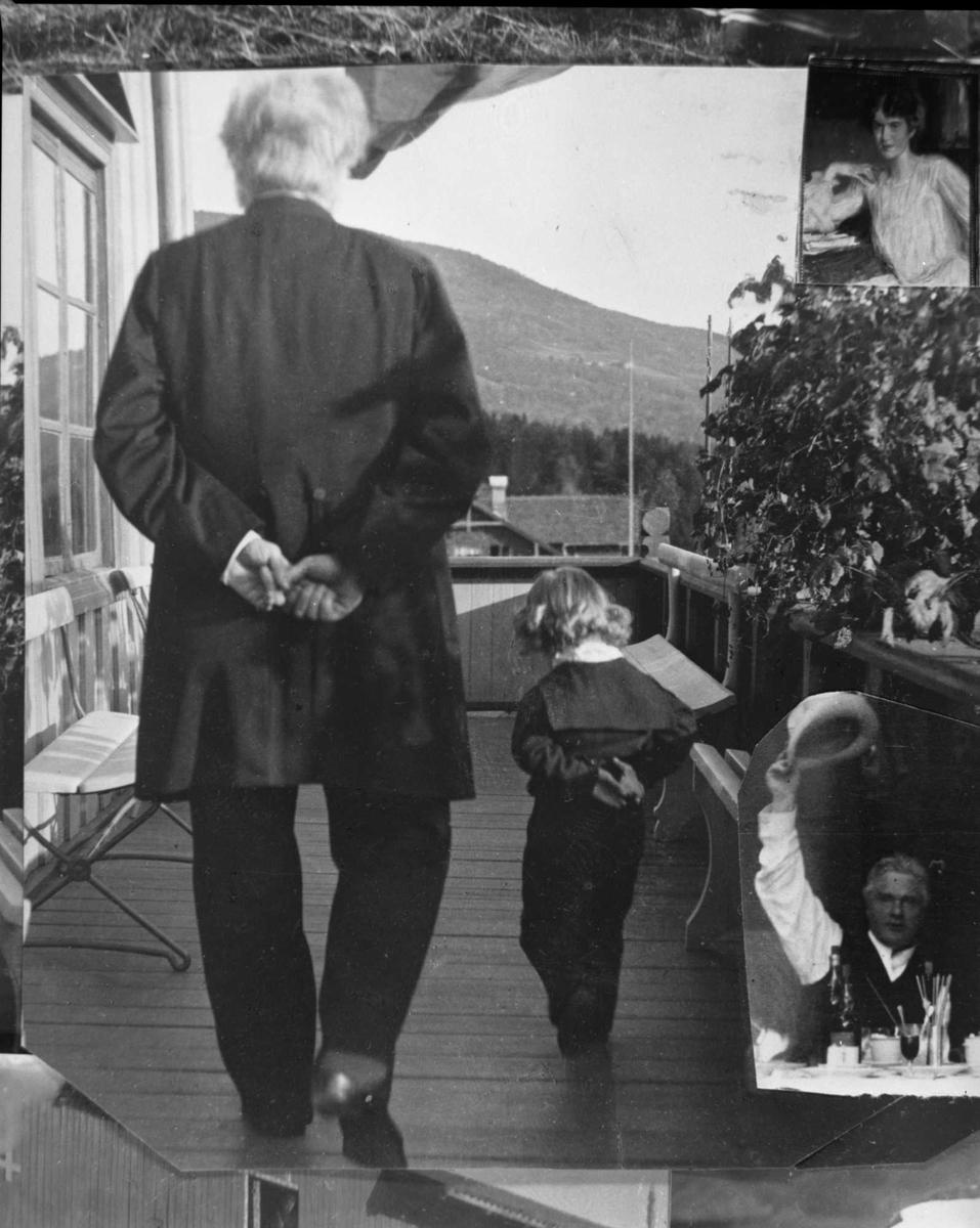 Bjørnson, veranda, Aulestad, barnebarn, spasertur, fotomontasje,