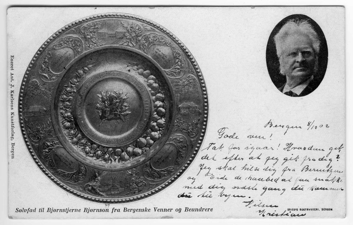 Bjørnson, sølvfat, postkort,