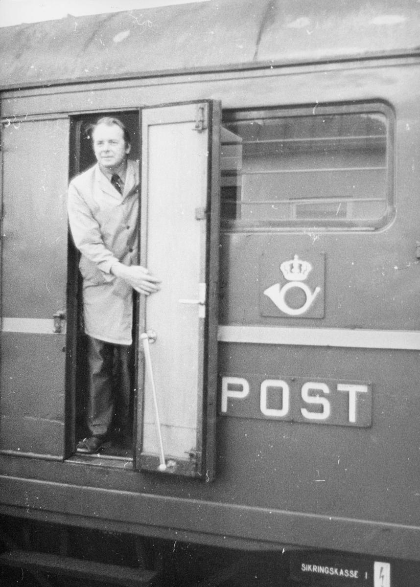 transport, tog, postvogn, mann