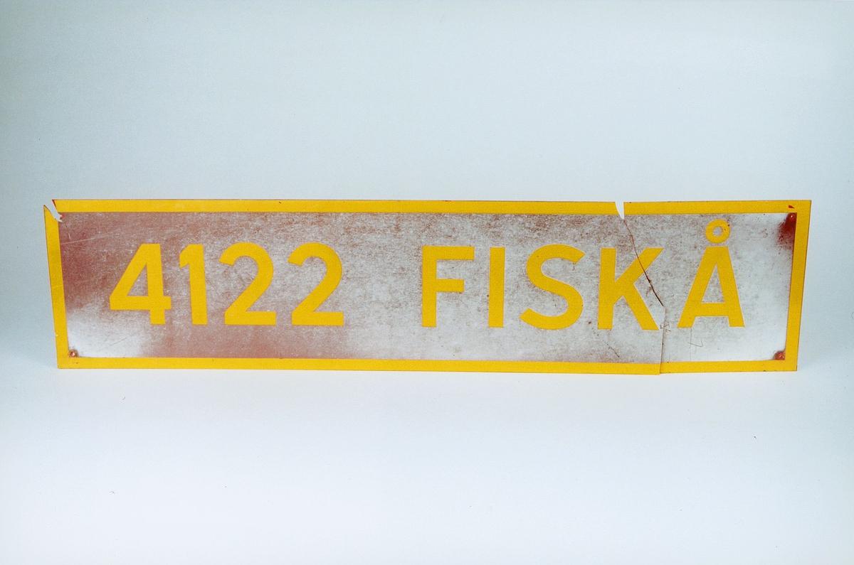 Postmuseet, gjenstander, skilt, stedskilt, stedsnavn, 4122 Fiskå.