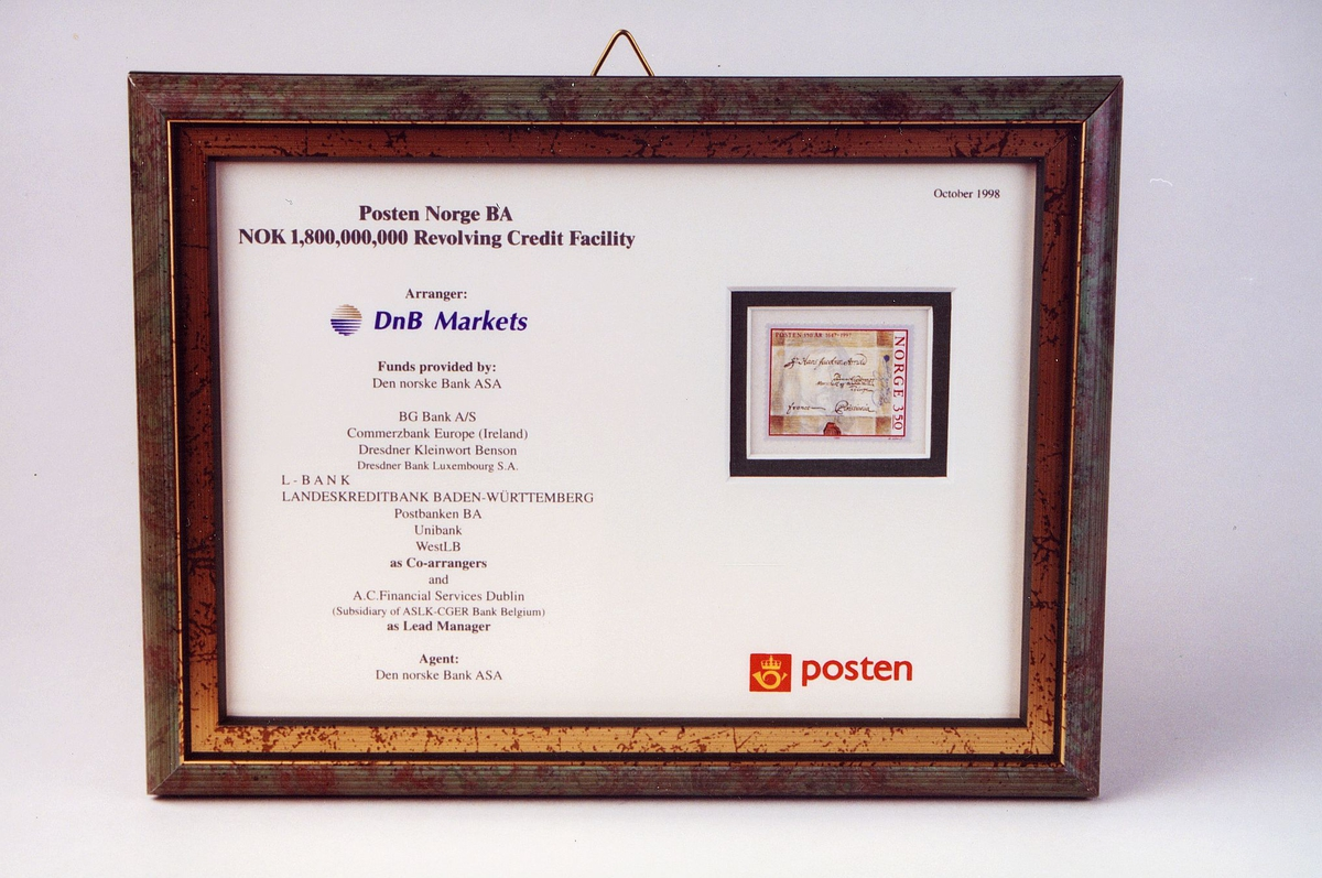 Postmuseet, gjenstander, innrammet bilde, plakett, låneavtale mellom Posten Norge BA og långivende banker.