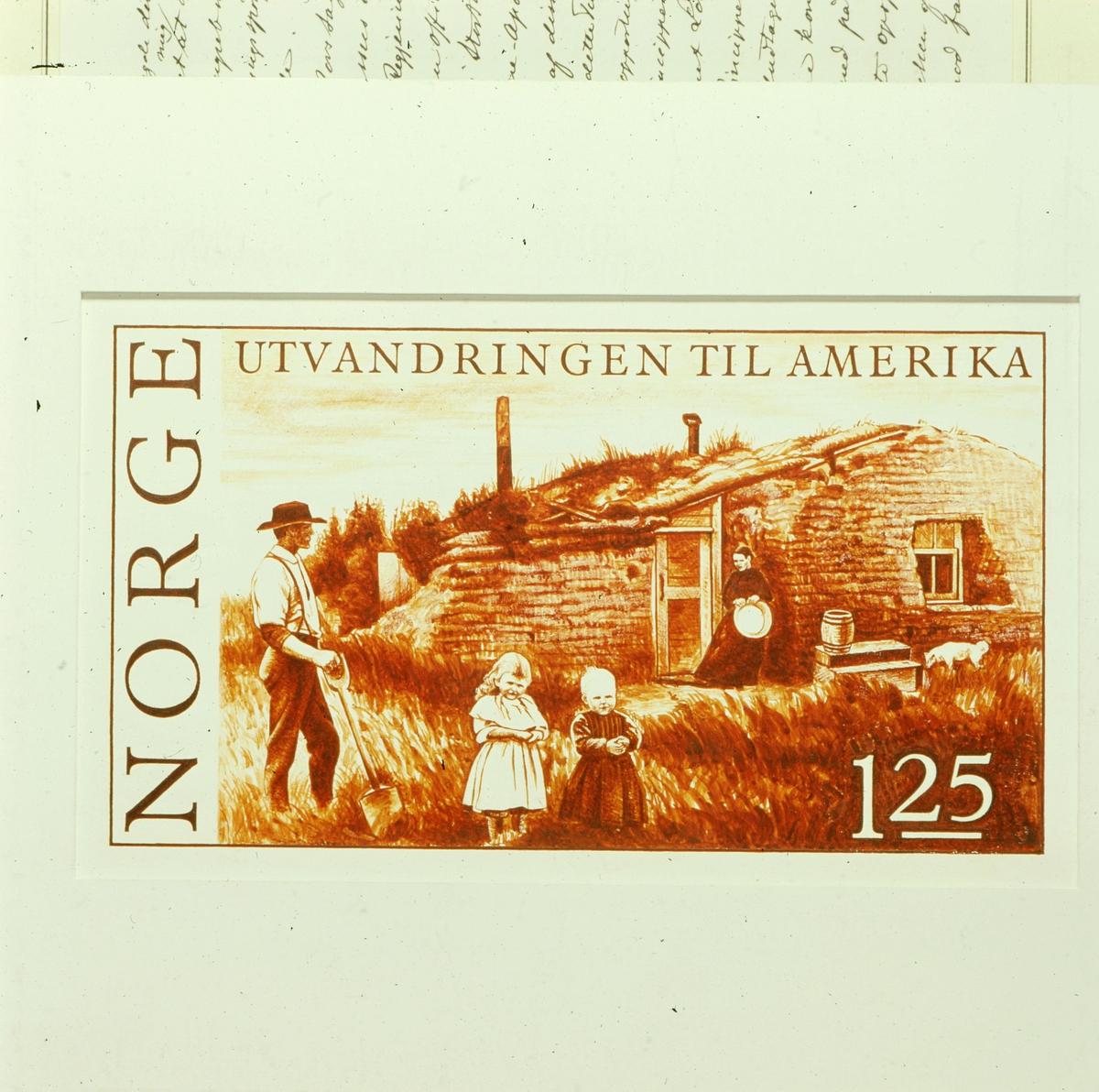postmuseet, Kirkegata 20, frimerker, NK 755, 150-årsminnet for utvandringen til Amerika, nybyggerfamilie