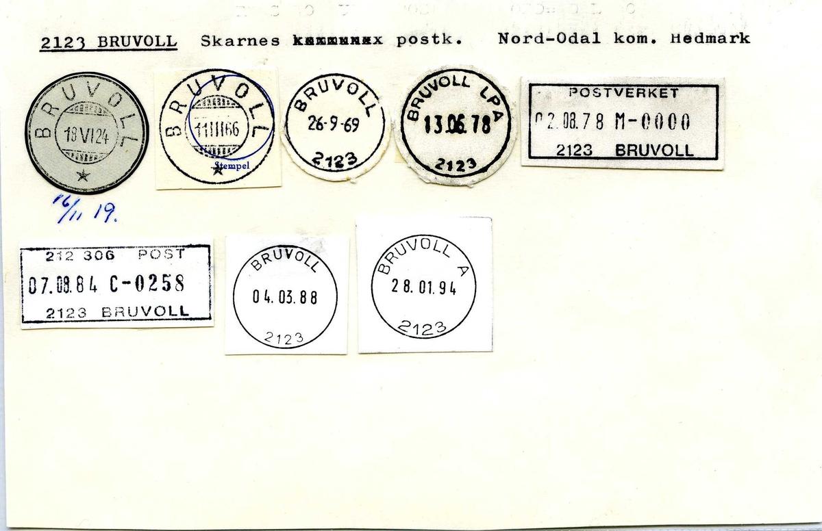 Stempelkatalog, 2123 Bruvoll, Skarnes postk., Nord-Odal kom, Hedmark