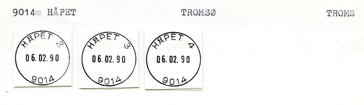 Stempelkatalog. 9014 Håpet. Tromsø postkontor. Tromsø kommune. Troms fylke.