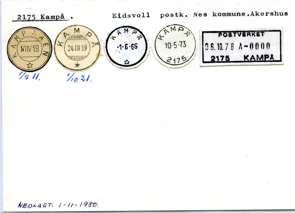 Stempelkatalog.2175 Kampå, Eidsvoll postk., Nes kommune, Akershus