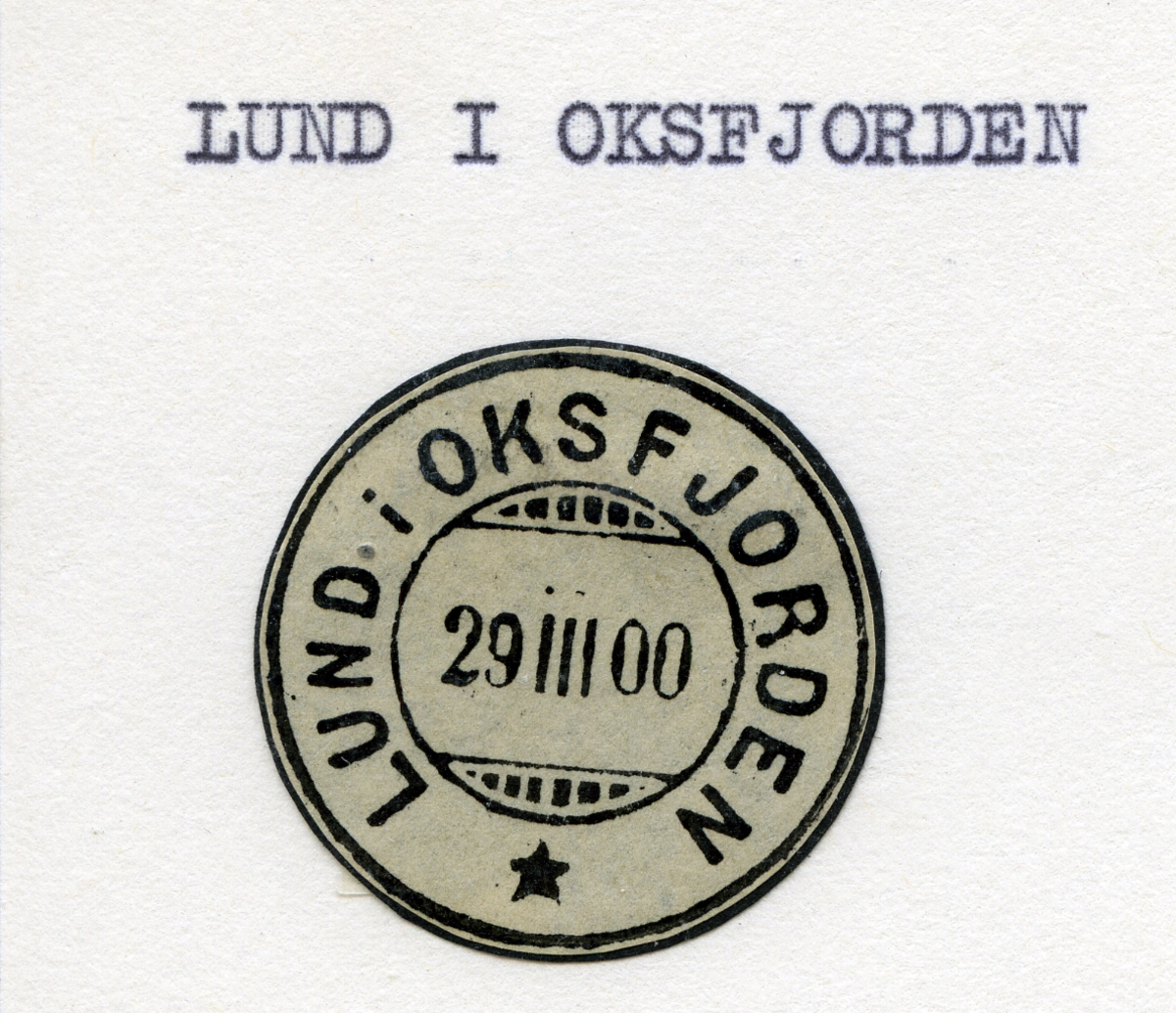 Stempelkatalog, Lund i Oksfjorden