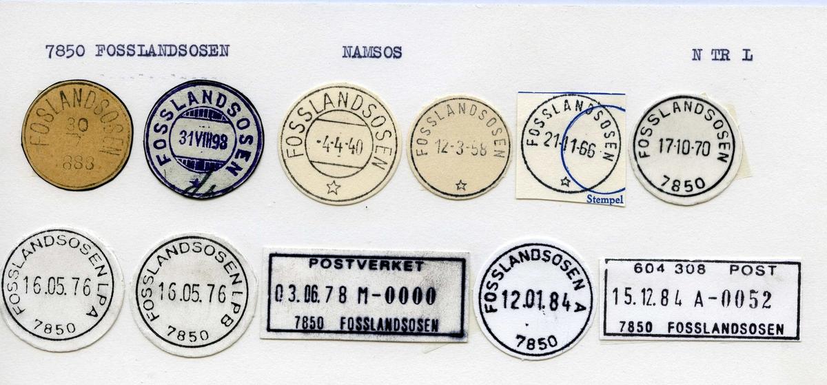 Stempelkatalog. 7850 Fosslandsosen. Namsos postkontor. Namsos kommune. Nord-Trøndelag fylke.