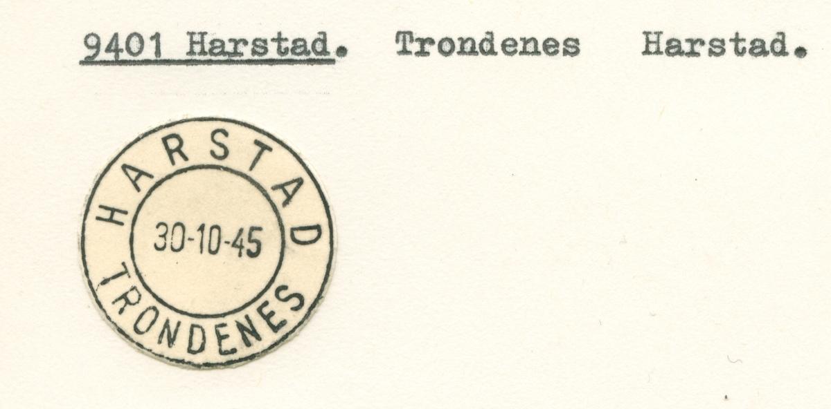Stempelkatalog. 9400 Harstad. Harstad kommune. Troms fylke.