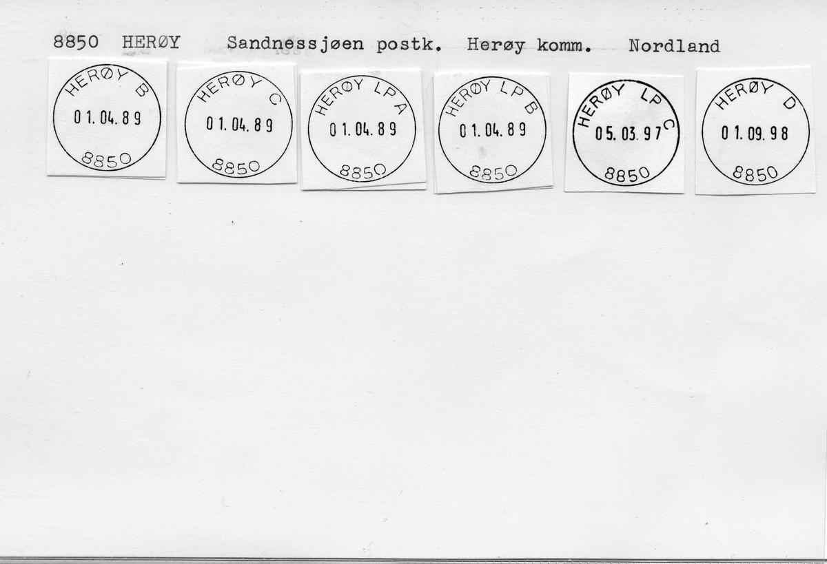 Stempelkatalog: 8850 Herøy, Sandnessjøen postk., Herøy kommune, Nordland (Endr. navn fra Herøyholmen 1.4.89)