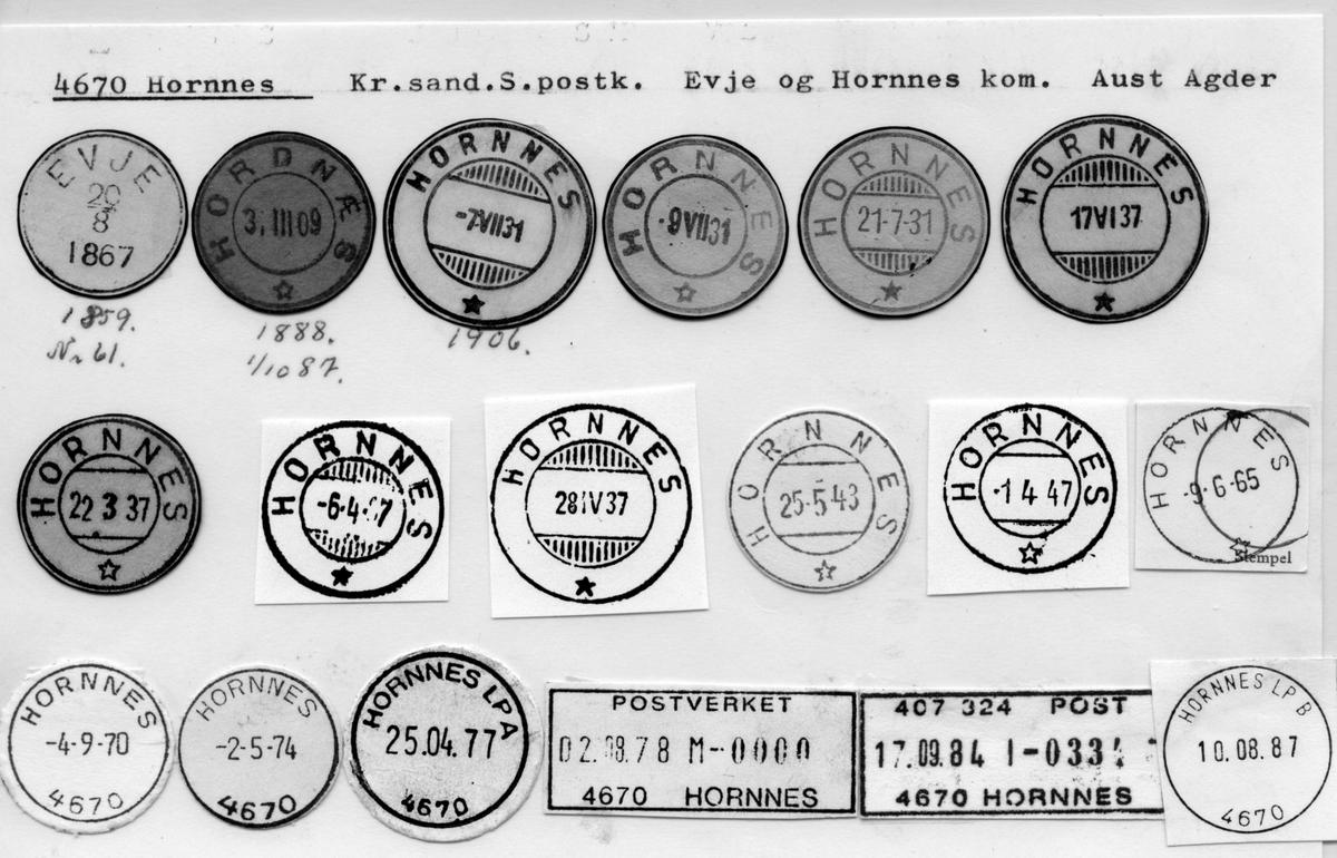 Stempelkatalog 4670 Hoprnnes )Evje, Hordnæs), Kristiansand, Evje og Hordnes, Aust Agder