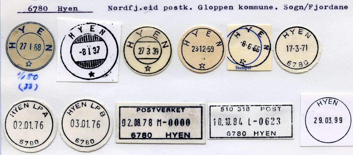 Stempelkatalog 6780 Hyen, Nordfj.eid postk, Gloppen kommune, Sogn og Fjordane