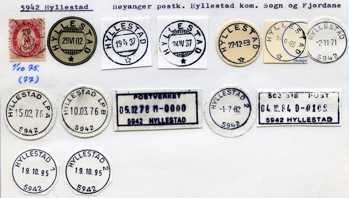 Stempelkatalog 5942 Hyllestad, Høyanger postk, Hyllestad kommune, Sogn og Fjordane