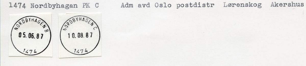 Stempelkatalog. 1474 Nordbyhagen. Oslo postdistrikt administrasjonsavdelingen. Lørenskog kommune. Akershus fylke.