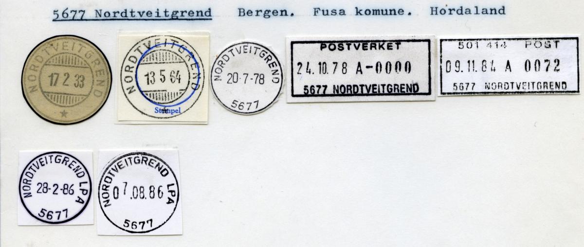 Stempelkatalog. 5677 Nordtveitgrend. Bergen postkontor. Fusa kommune. Hordaland fylke.