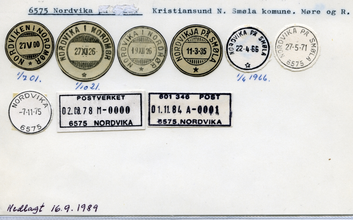 Stempelkatalog 6575 Nordvika (Nordviken i Nordmør, Nordvika i Nordmør, Nordvikja på Smøla, Nordvika på Smøla), Kristiansund, Smøla, Møre og Romsdal,