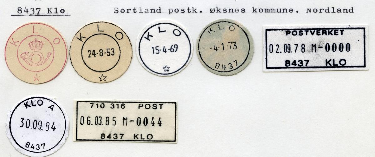 Stempelkatalog 8437 Klo, Sortland, Øksnes, Nordland