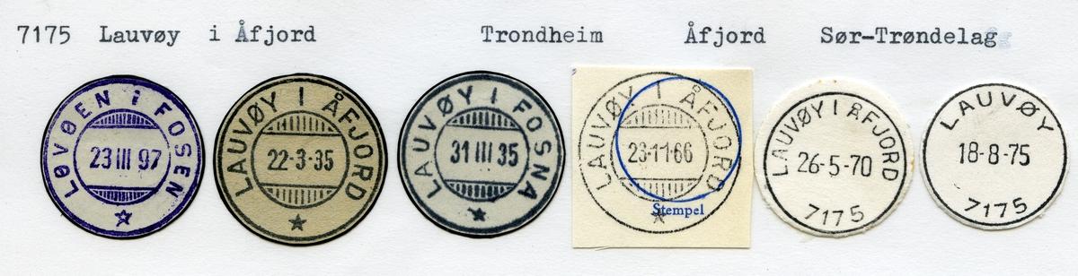 Stempelkatalog 7175 Lauvøy i Åfjord (Løvøen i Fosen, Lauvøy i Fosna, Lauvøy), Trondheim, Åfjord, Sør-Trøndelag