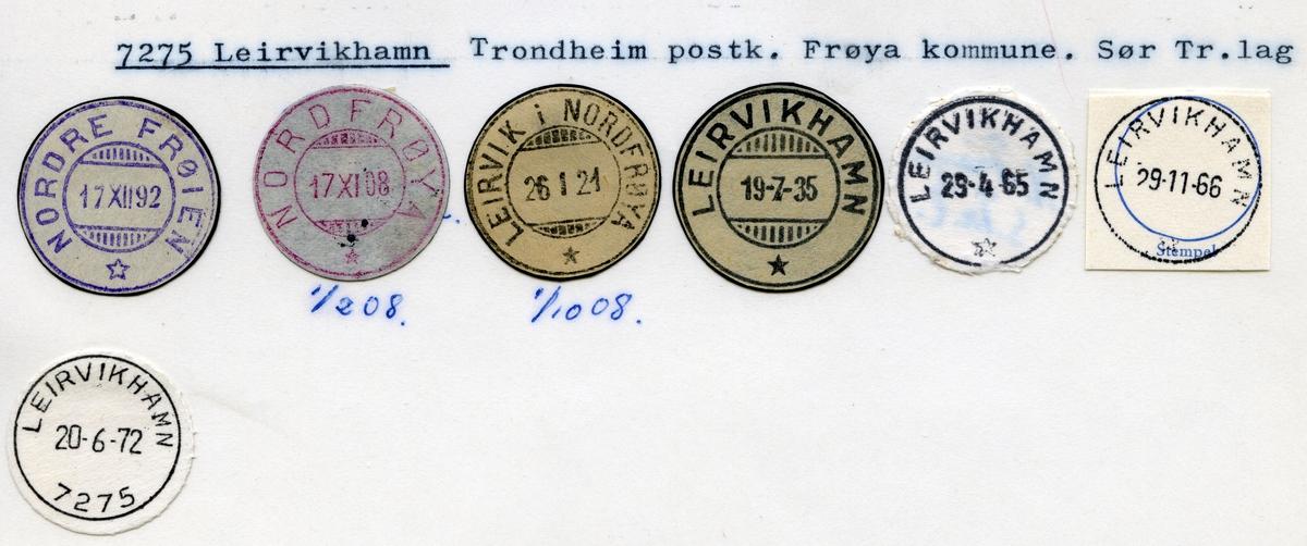 Stempelkatalog 7275 Leirvikhamn (Nordre Frøien, Nordfrøya, Leirvik i Nordfrøya), Trondheim, Frøya, Sør-Trøndelag