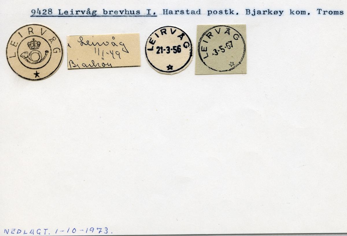 Stempelkatalog 9428 Leirvåg, Harstad, Bjarkøy, Troms