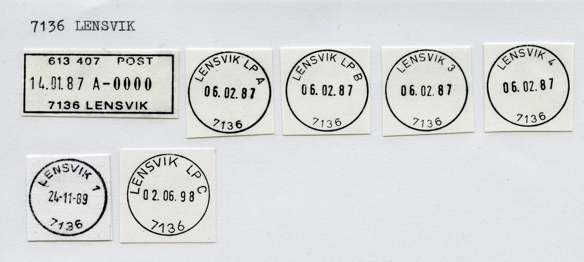Stempelkatalog 7136 Lensvik (Selbækken, Selbekken), Trondheim, Agdenes, Sør-Trøndelag