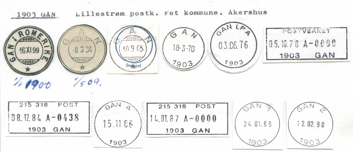 Stempelkatalog 1903 Gan (Gan i Romerike), Lillestraøm, Fet, Akershus